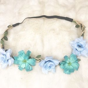 Boho Flower Crown/ Headband (new) Blue